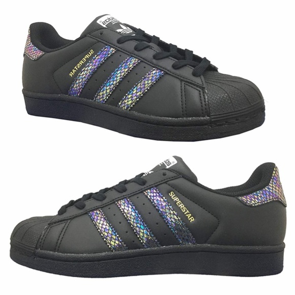 Adidas Superstar Mermaid iridescent snake 6.5Y 8W New in box